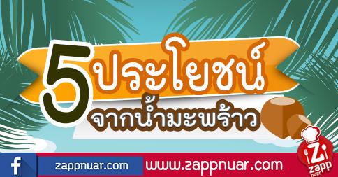 Zappnuar Healthy : 5 ประโยชน์จากน้ำมะพร้าว